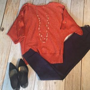 Tops - Burnt Orange Gold Button Sleeve Tunic Top XS